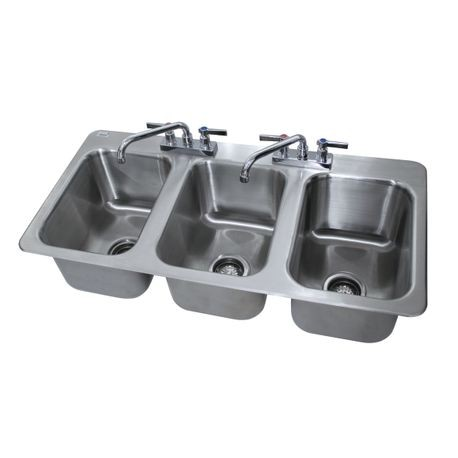 "Advance Tabco DI-3-10 Drop-In Sink, 3-compartment, 10"" wide x 14"" front-to-back x 10"" deep each/bowl, 18 gauge 304 series stainless steel, deck mounted 8"""