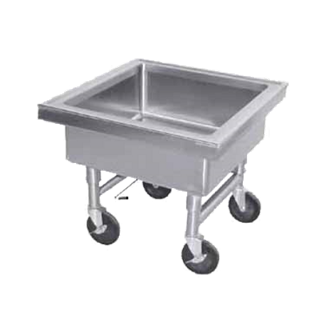 "Advance Tabco 9-FSS-20 Soak Sink, portable, 20"" working height, sink outlet fitted with quick-release drain, 22"" x 22"" x 8"" deep fabricated sink"