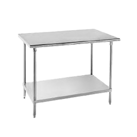 "Advance Tabco MG-363 Work Table, 36""W x 36""D, 16 gauge 304 series stainless steel top, 18 gauge galvanized adjustable undershelf, galvanized legs with"