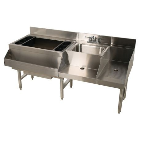 "Advance Tabco CRU-60L Underbar Basics Uni-Serv Speed Bar, 60""W x 21""D x 33""H, 4"" backsplash, includes: 12"" deep ice bin with 98 lbs. capacity with (2)"