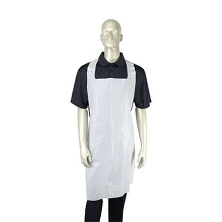 "White Poly Apron, Designed to protect clothing from spills and stains, 28"" x 46"", 100 aprons per box, 5 boxes per case"