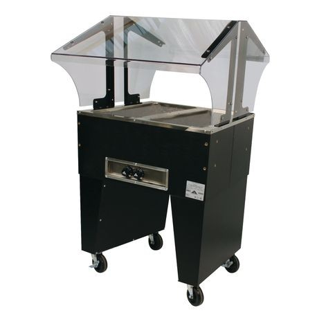 "Advance Tabco B2-120-B Portable Hot Food Buffet Table, electric, 31-13/16""W x 35""D x 53""H, double sided sneeze guard, (2) 12"" x 20"" galvanized wells"