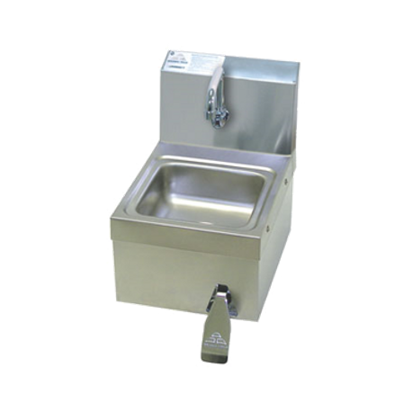 "Advance Tabco 7-PS-63 Hand Sink, wall model with skirt, 9"" wide x 9"" front-to-back x 5"" deep bowl, 18 gauge 304 series stainless steel, splash mounted"
