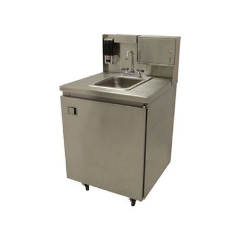 "Advance Tabco TA-MSC-2 Rear riser panel for 31"" wide mobile sinks, includes paper towel dispenser (keyless), liquid soap dispenser, removable drip tray."