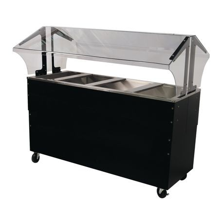 "Advance Tabco B4-CPU-B-SB Ice Cooled Portable Food Buffet Table, 62-7/16""W x 35""D x 53""H, double sided sneeze guard, accommodates (4) 12"" x 20"" pans"