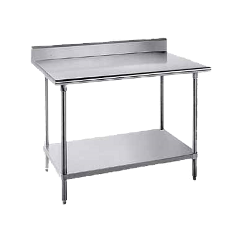 "Advance Tabco KAG-3010 Work Table, 120""W x 30""D, 16 gauge 430 series stainless steel top with 5""H backsplash, 18 gauge galvanized adjustable undershelf"