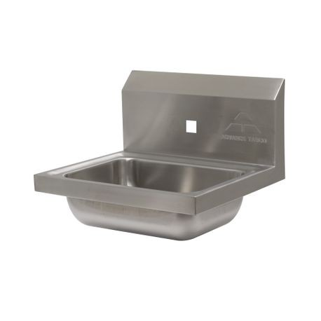 "Advance Tabco 7-PS-71 Hand Sink, wall model, 14"" wide x 10"" front-to-back x 5"" deep bowl, 20 gauge 304 series stainless steel, single splash faucet hole"