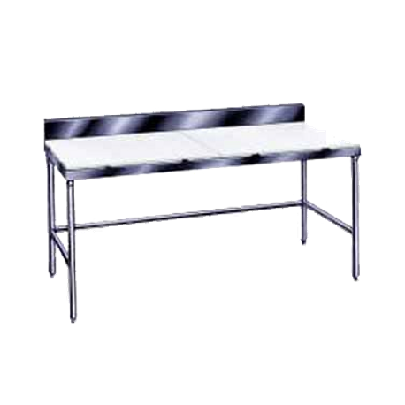 "Advance Tabco TSPS-306 Poly-Top Work Table, 72""W x 30""D, 5/8"" thick Poly-Vance top with 6""H stainless steel backsplash, stainless steel legs with side"