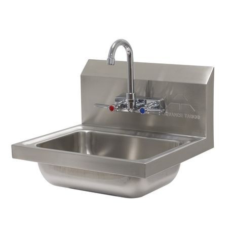 "Advance Tabco 7-PS-60 Hand Sink, wall model, 14"" wide x 10"" front-to-back x 5"" deep bowl, 20 gauge 304 series stainless steel, with splash mounted faucet"