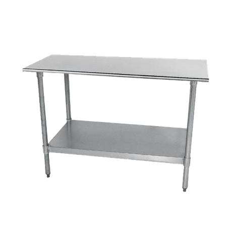 "Advance Tabco TT-245-X Special Value Work Table, 60""W X 24""D, 18 Gauge 430 Stainless Steel Top With Rolled Rim On Front & Rear"