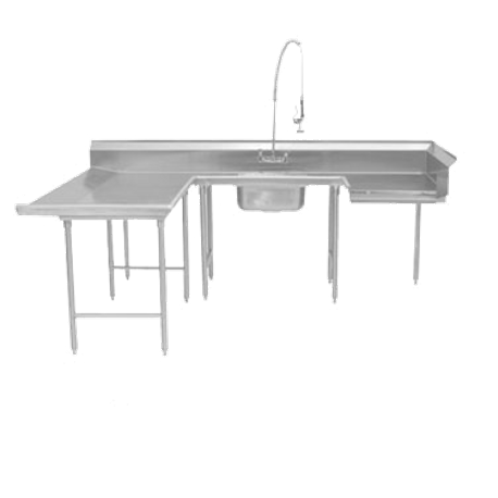 "Advance Tabco DTS-U30-96L Dishtable, soiled, u-shaped, left-to-right, 59"" x 108"" x 96"" with landing, 10-1/2""H backsplash, with pre-rinse sink, 16/304"