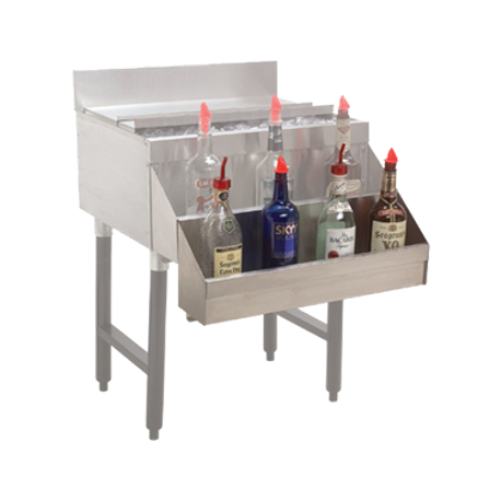 "Advance Tabco SR-18H Underbar Basics Add-On Speed Rail, single tier, 18""W, (4-5) bottle capacity, hang-on design, stainless steel, NSF (designed for SRK"