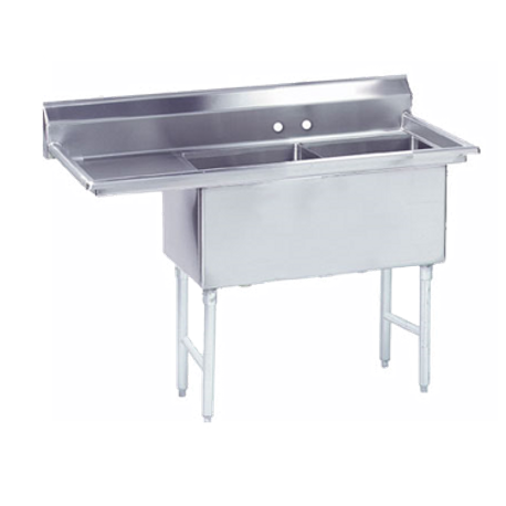 "Advance Tabco FS-2-2424-18L Fabricated NSF Sink, 2-compartment, 18"" left drainboard, bowl size 24"" x 24"" x 14"" deep, 14 gauge 304 series stainless steel"