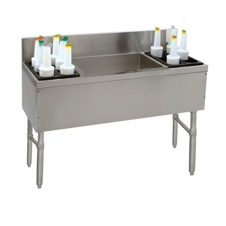 "Advance Tabco PRC-19-54LR-10 Prestige Ice Chest, with 10-circuit cast aluminum cold plate, 54""W x 20""D x 36""H, 7""H backsplash, 10-1/6"" deep bins, 32/89/32"