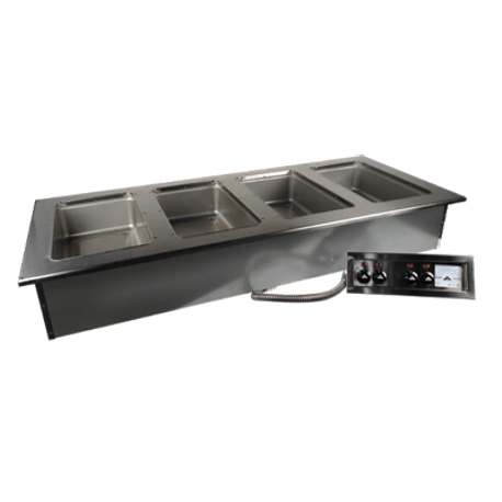 "Advance Tabco DISW-4-240 Hot Food Well Unit, drop-in, electric, 64-3/4W x 26-3/4""D (overall), 63-1/4W x 23-3/8D (cut out size), (4) 12"" x 20"" sealed"
