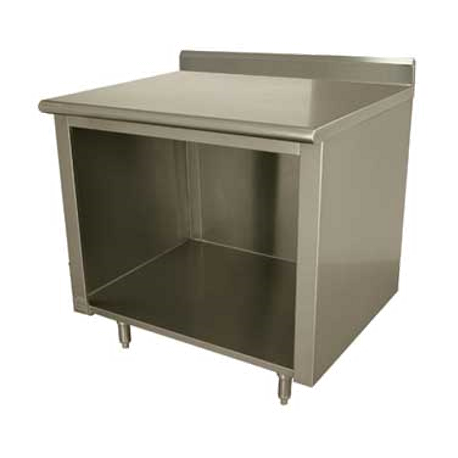 "Advance Tabco EK-SS-244 Work Table, 48""W x 24""D, open front cabinet base, 14 gauge 304 series stainless steel top, 5""H backsplash, stainless steel legs"
