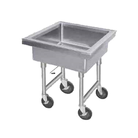 "Advance Tabco 9-FMS-12 Soak Sink, portable, 34"" working height, sink outlet fitted with quick-release drain, 22"" x 22"" x 12"" deep fabricated sink"