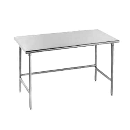 "Advance Tabco TSAG-308 Work Table, 96""W x 30""D, 16 gauge 430 stainless steel top, stainless steel legs with side & rear crossrails, adjustable stainless"