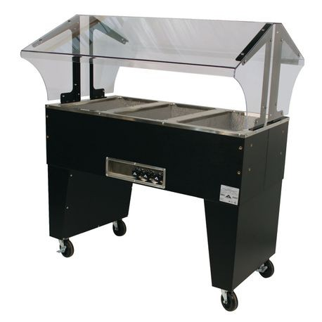 "Advance Tabco B3-240-B-S Portable Hot Food Buffet Table, electric, 47-1/8""W x 35""D x 53""H, double sided sneeze guard, (3) 12"" x 20"" stainless steel wells"
