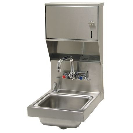 "Advance Tabco 7-PS-84 Hand Sink, wall model, 9"" wide x 9"" front-to-back x 5"" deep bowl, 20 gauge 304 series stainless steel, splash mounted faucet, towel"