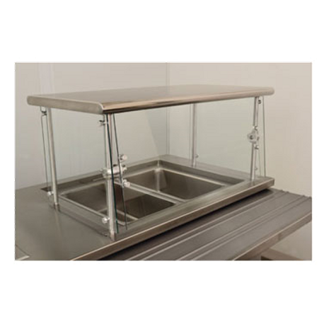 "Advance Tabco NSGC-18-144 Sleek Shield Food Shield, cafeteria style, 144""W x 18""D x 18""H, with stainless steel top shelf, 1/4"" thick heat tempered glass"
