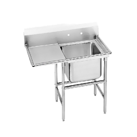 "Advance Tabco 94-61-18-36L Regaline Sink, 1-compartment, with left-hand drainboard, 24"" front-to-back x 18""W sink compartment, 14"" deep, with 11""H"