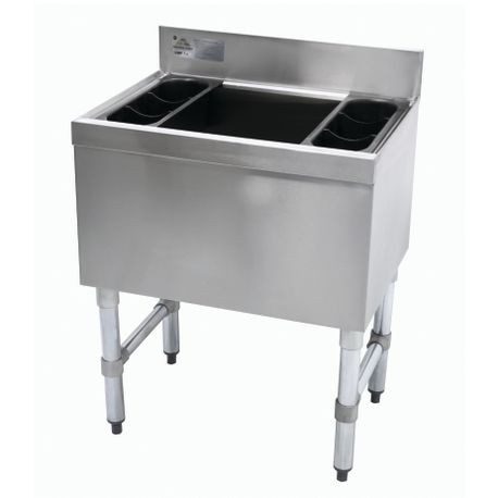 "Advance Tabco SLI-16-30-7 Underbar Basics Cocktail Unit, 16"" deep chest with 7-circuit post mix cold plate, 30""W X 18""D X 33""H, 4"" splash, 127-lbs. ice"