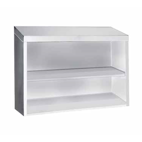 "Advance Tabco WCO-15-36 Cabinet, wall mount, open front design, 36""W x 15""D, with single intermediate shelf, 18/430 stainless steel construction, NSF"
