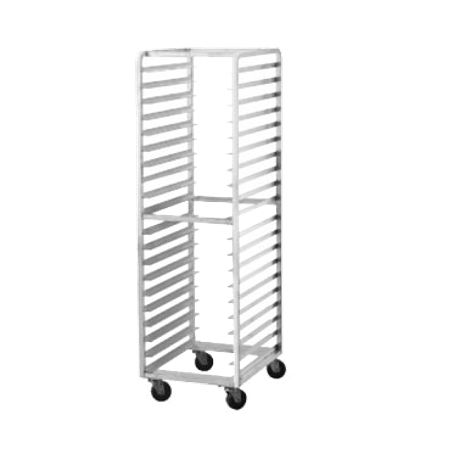 "Advance Tabco CFL20 Roll In Oven Rack, (20) 18"" x 26"" pan capacity, 3"" shelf spacing, 1-1/2"" ribbed angles, front load, welded aluminum construction, 1"""