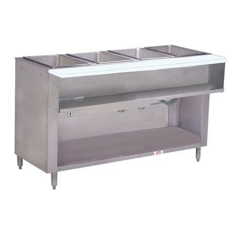 "Advance Tabco WB-4G-LP-BS Water Bath Hot Food Table, LP gas, 62-7/16""W x 22-5/8""D x 34-1/8""H, (4) 12"" x 20"" well openings (accommodates pan inserts up to"