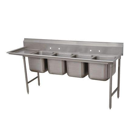 "Advance Tabco 9-4-72-18L Regaline Sink, 4-compartment, with left-hand drainboard, 20"" front-to-back x 16""W sink compartments, 12"" deep, with 8""H"