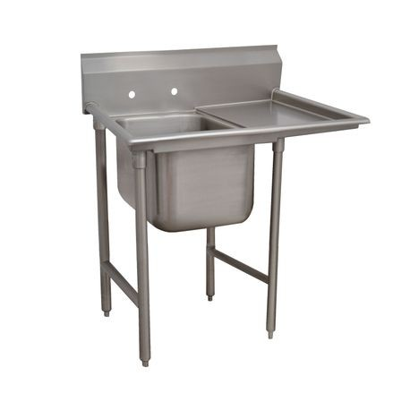 "Advance Tabco 9-41-24-24R Regaline Sink, 1-compartment, with right-hand drainboard, 24"" front-to-back x 24""W sink compartment, 12"" deep, with 8""H"