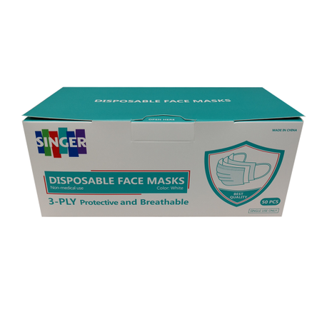 Singer Exclusive - Disposable, Protective Face Masks in White, 3-Ply, 50 count