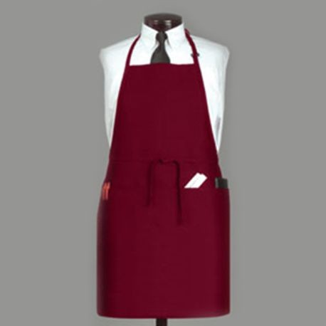 APRON BIB 3 POCKET BURGUNDY POLYESTER