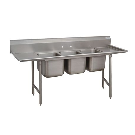 "Advance Tabco 94-83-60-18RL Regaline Sink, 3-compartment, with left & right-hand drainboards, 28"" front-to-back x 20""W sink compartments, 14"" deep, with"