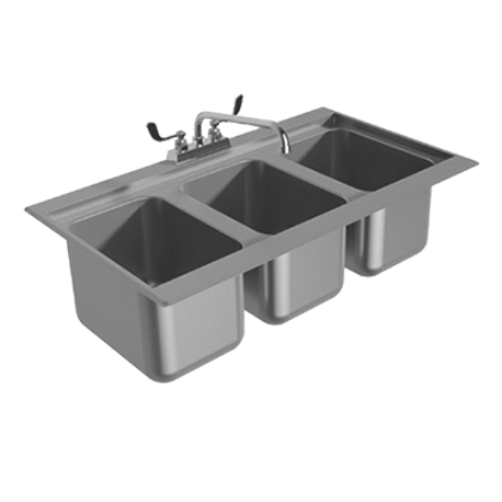 "Advance Tabco DBS-3-X Bar Sink, drop-in, 36-5/16""W x 21-1/8""D x 11-8/10""H (overall), (3) 10""W x 14""D x 10"" deep sink bowls with 1-1/2"" I.P.S. drains"