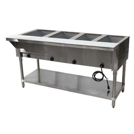 "Advance Tabco HF-4E-120-X Hot Food Table, electric, 62-3/8""W x 22-5/8""D x 34-1/8""H, (4) 12"" x 20"" wells (accommodates pan inserts up to 7-3/4"" deep)"