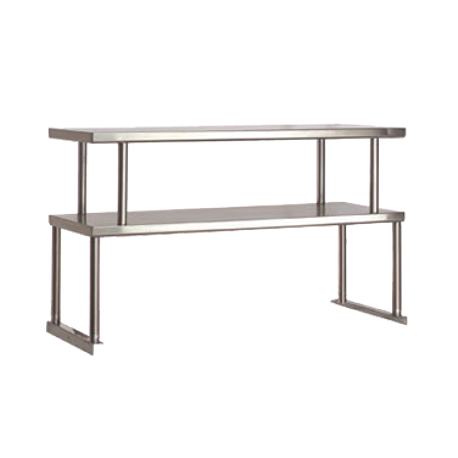 "Advance Tabco TOS-4-18 Food Table Overshelves, double, 62-3/8""W x 18""D x 27-1/8""H, 18 gauge stainless steel shelves, stainless steel posts with mounting"