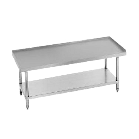 "Advance Tabco ES-244 Equipment Stand, 48""W x 24""D x 25""H (overall), 24"" working height, 14 gauge 304 series stainless steel top with 1"" upturn on rear"