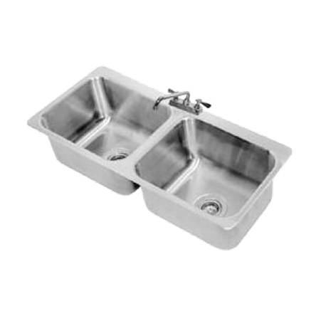 "Advance Tabco DI-2-2012 Drop-In Sink, 2-compartment, 20"" wide x 16"" front-to-back x 12"" deep each/bowl, 18 gauge 304 series stainless steel, deck mounted"