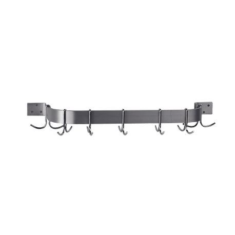 "Advance Tabco GW1-72 Pot Rack, wall-mounted, single bar design, 72"" long, with 9 plated double hooks, constructed of 1/4"" x 2"" powder coated galvanized"