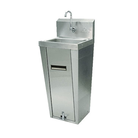 "Advance Tabco 7-PS-90 Hand Sink, pedestal mounted base, 14"" wide x 10"" front-to-back x 5"" deep bowl, 20 gauge 304 series stainless steel, splash mounted"