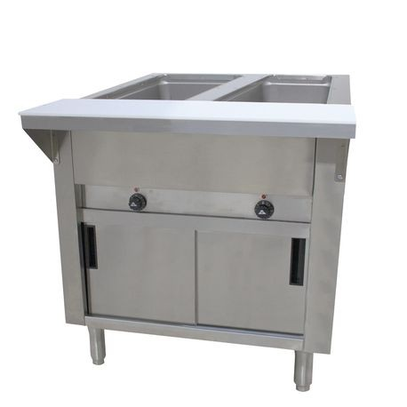 "Advance Tabco HF-2E-120-DR Hot Food Table, electric, 31-13/16""W x 22-5/8""D x 34-1/8""H, (2) 12"" x 20"" wells (accommodates pan inserts up to 7-3/4"" deep)"