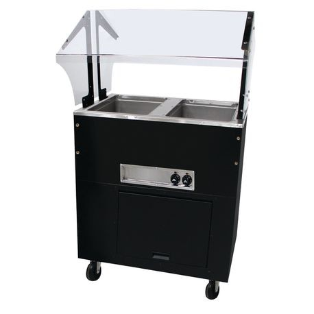 "Advance Tabco BSW2-240-B-SB Portable Hot Food Buffet Table, electric, stainless steel top, matte black vinyl steel clad body, (2) 12"" x 20"" hot food wells"