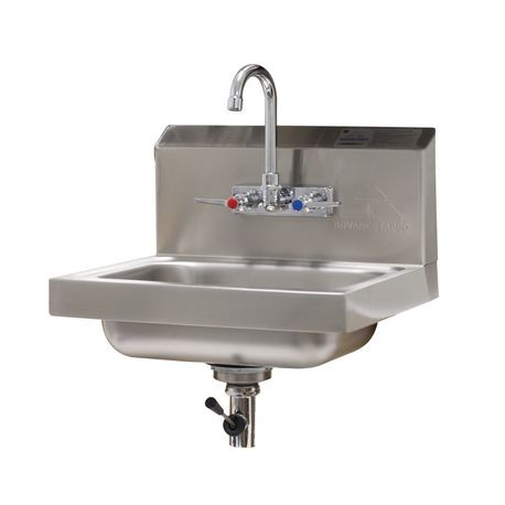 "Advance Tabco 7-PS-67 Hand Sink, wall model, 14"" wide x 10"" front-to-back x 5"" deep bowl, 20 gauge 304 series stainless steel, with splash mounted faucet"