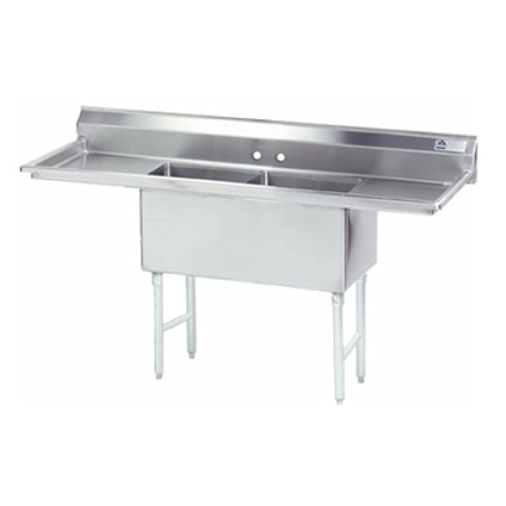 "Advance Tabco FC-2-1824-18RL-X Fabricated NSF Sink, 2-compartment, 18"" right & left drainboards, bowl size 18"" x 24"" x 14"" deep, 16 gauge 304 series"