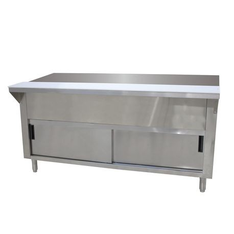 "Advance Tabco STU-5-DR Solid Top Table, 77-3/4""W x 30-1/2""D x 34-3/8""H, 20 gauge 302 stainless steel top with 8""D x 3/8"" thick poly cutting board, 20"
