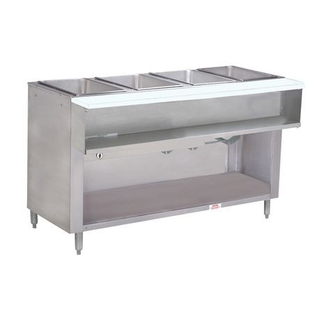 "Advance Tabco WB-4G-NAT-BS Water Bath Hot Food Table, natural gas, 62-7/16""W x 22-5/8""D x 34-1/8""H, (4) 12"" x 20"" well openings (accommodates pan inserts"