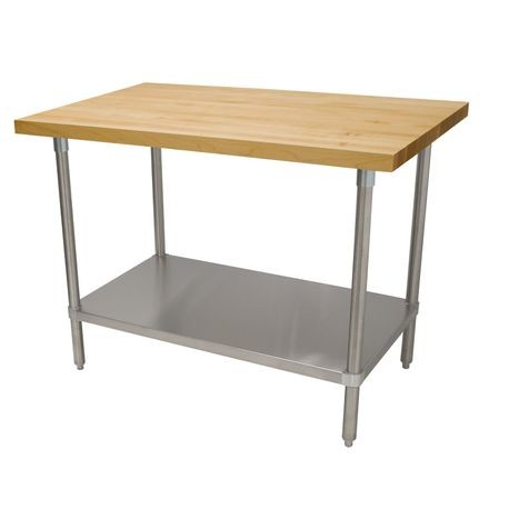"Advance Tabco H2S-364 Maple Top Work Table, 48""W x 36""D, 1-3/4"" thick laminated hard maple wood top, 18 gauge stainless steel adjustable undershelf"