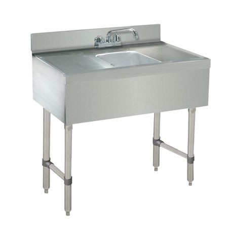 "Advance Tabco CRB-31C Underbar Basics Sink Unit, 1-compartment, 36""W x 21""D x 33""H overall, 4""H backsplash, (1) 10""W x 14""D x 10"" deep, Deep Drawn sink"